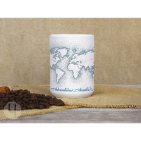 World Map Navy Dots Large Mug - FREE Shipping