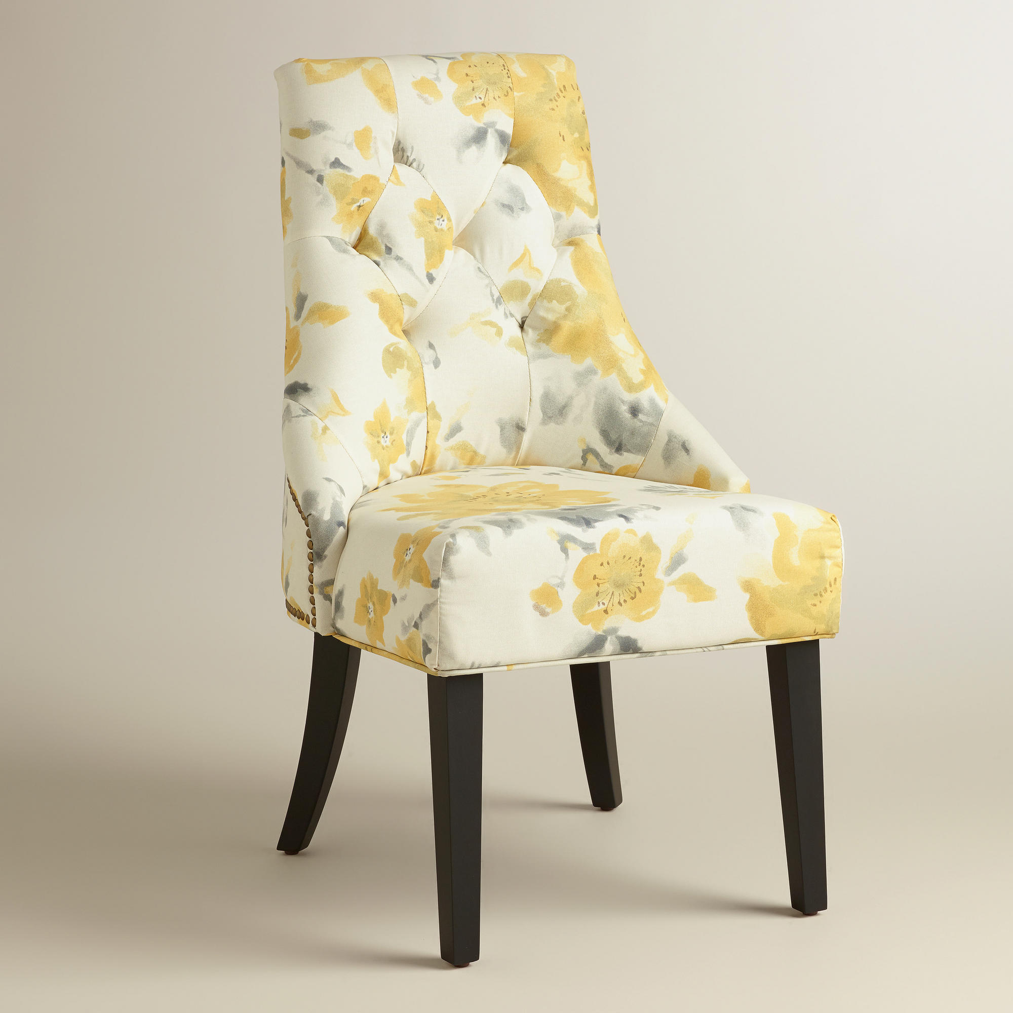 Cost Plus Chairs: Yellow Floral Tufted Lydia Dining Chairs, From Cost Plus World
