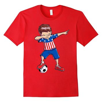 Dabbing Soccer T shirt for Boys Dab USA Flag Funny Football