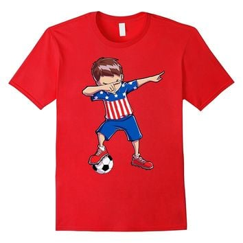 Soccer Boy USA Dabbing Dab Dance T shirt Funny Football Boys