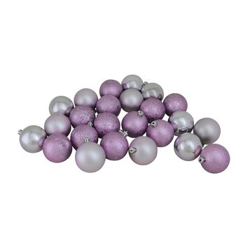 """24ct Light Lavender and Silver Shatterproof 4-Finish Christmas Ball Ornaments 2.5"""" (60mm)"""