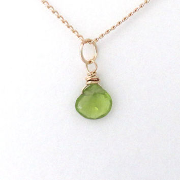 Peridot necklace, August birthstone necklace,  lime green peridot gemstone, gold filled
