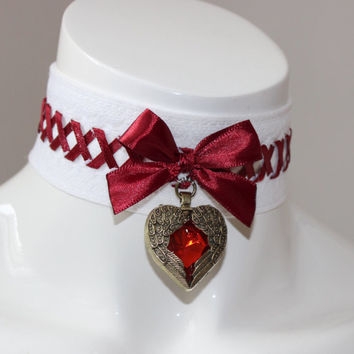 Gothic choker - Angel tears - white and red laced collar with crystal heart - cosplay larp con goth vampire lady costume - kittenplay