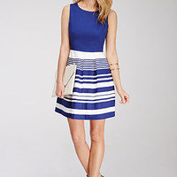 Striped Box-Pleated Dress