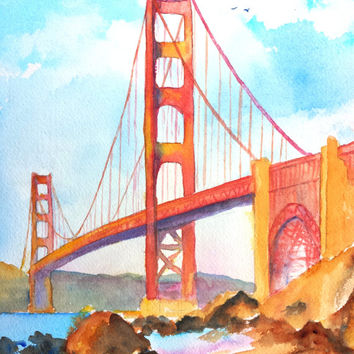 Original Watercolor Landscape Painting, Golden Gate Bridge, San Francisco, California, 9x12, famous Bridge, architecture,San Francisco beach