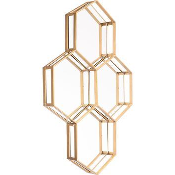 Gold Honeycomb Wall Mirror