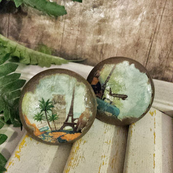 Handmade Knobs Drawer Pull Set of 4, Distressed Travel Style, Paris London, Dresser Knob Pulls, 1.5 Inch, We Make Customized Orders