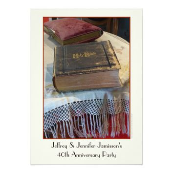 40th Anniversary Party Invitation Vintage Bible