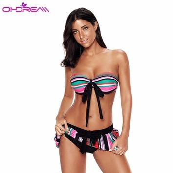 OHDREAM Sexy Bikini Sets Strapless Push Up Women Swimming Skirt Two Piece Swimsuit Bow Striped Beach Party Wear Low Waist-E