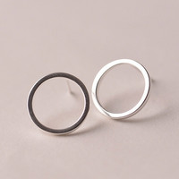 925 Sterling Silver earrings Simple Circles Stud earrings,Hypoallergenic Sterling Silver earrings