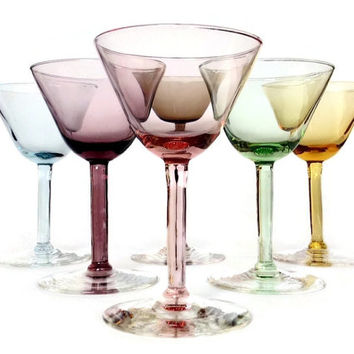 Multi Color Cocktail Coupes, Hand Blown Stemmed Glasses, Set of Six