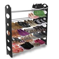 Shoe Rack Storage Organizer, Best Portable Shoe-rack Bench Wardrobe Closet Holds up to 50 Pairs of Shoes Collection -Adjustable, Stackable up to 10 tiers- Easily Assemble without Tools, Strong & Sturdy Space Saver Won't Weaken or Collapse -Black