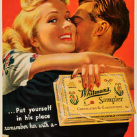 1942 Ad Whitmans Sampler Chocolates Confections Romantic Couple Ray SEP6