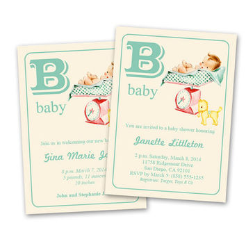 Digital DIY Vintage Baby Shower Invitation / Baby Announcement / Neutral Colors / editable PDF / add your own text / personalize it yourself