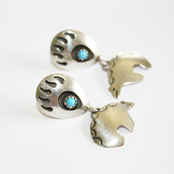Sterling Turquoise Earrings Bear Claw Native American 1960s  Jewelry
