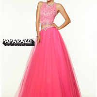 Two Piece High Neck With Tulle Ball Gown Paparazzi Prom Dress By Mori Lee 97116