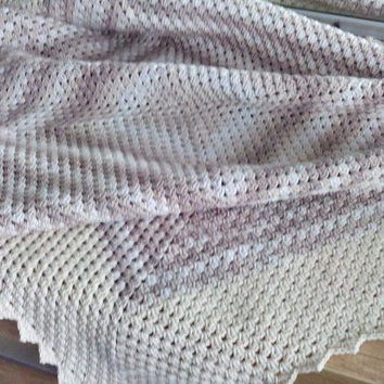 Crochet Blanket/ Crochet Afghan/ Baby Throw Blanket/ Granny Square Blanket/ Crocheted Throw/ Three Snails/ Free Shipping!