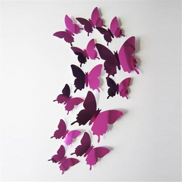 Lovely Pets Factory Price Creative New Decal Butterflies 3D Mirror Wall Stickers or Wall Art Home Decors or Wallpaper Aug15
