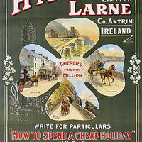 VINTAGE NORTH OF IRELAND TRAVEL POSTER beautiful country larne design 24X36