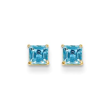 4mm Square Princess Blue Topaz Stud Earrings in 14k Yellow Gold