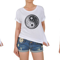 Women's Yin Yang-1 Printed Cotton T-shirt WTS_12