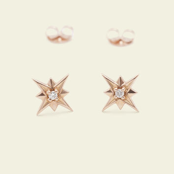 Compass Rose Earrings (14k Rose Gold)