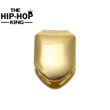 ac DCCKO2Q Gold Color Single Teeth Grillz Plain Canine Tooth Grill Cap Top & Bottom Grill for Halloween Christmas Party