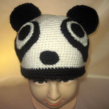 funny silly Animal Crocheted costume Hat Panda Baby Acrylic Black White wool Teddy Bear Unisex Boys Girls kids childs Easter gift 3,4,5 age