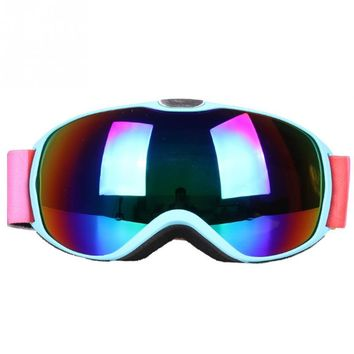 Children Ski Goggles Snowboard Skating Goggles UV400 Anti-fog Ski Glasses Sunglasses Spherical Lens Strap Ski Mask Helmet