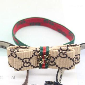 """GUCCI"" Fashionable Women Cute Bowknot Hair Rope Letter Head Rope Hair Band I12467-1"