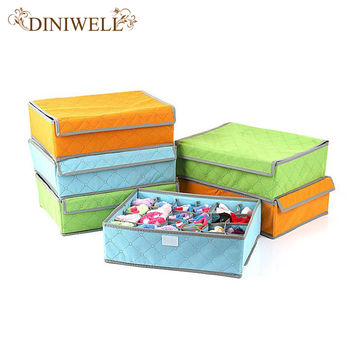 Foldable Colorful  Bamboo Nonwoven Storage Box For Underwear Socks Tie Bra Closet  Drawer Divider  Organizer Box Container