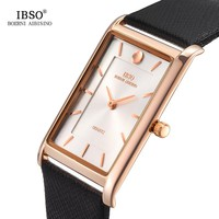 IBSO 7MM Ultra-thin Rectangle Dial Business Watch Men Black Genuine Leather Strap Classic Quartz Wristwatch New Men Watches 2018