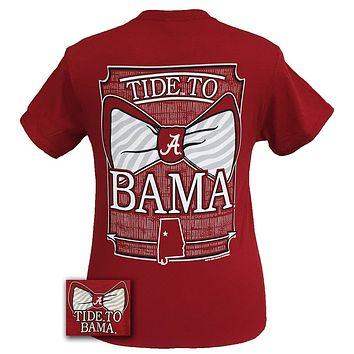 Alabama Crimson Tide Tied To Bama Big Bow Girlie Bright T Shirt