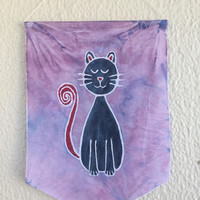 Cat Wall Hanging/Batik Decor/Cat Flag/ Hand Painted- Batik Wall Decor/Baby Room/Cat Lover Gift