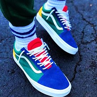 Vans Skate shoes Old Skool Classics Sneaker Green Blue Yellow Red Contrast Flat Shoes