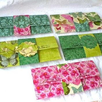 Cash Holder Envelopes, Garden Lovers Flowers Leaf Butterfly, Cash Envelopes, Set of 5 Decorative Text Box