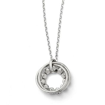 Diamond Cut Beaded Circle Adjustable Necklace in Sterling Silver
