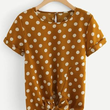 Bow Tie Front Polka Dot Blouse