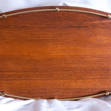 BENT WOOD TRAY Made of Teak Mahagony with Brass Railing Sides. Japanese Made Retro, Cocktail Cool, Party, Bent Wood Tray of Teak Mahagony.