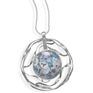 """20"""" Necklace with Cut Out Roman Glass Pendant"""