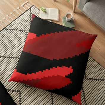 'Pixelated Red and Black' Floor Pillow by Christy Leigh