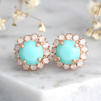 Mint Earrings, Mint Stud Earrings, Bridesmaids Mint Earrings, Swarovski Crystal Mint Earrings, Green Mint Studs Earrings, Gift For Her