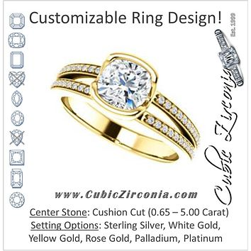Cubic Zirconia Engagement Ring- The Monami (Customizable Bezel Cushion Cut with Split-pavé Band Accents & Euro Shank)