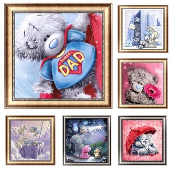 5D Diamond Embroidery Painting DIY Bear Stitch Craft Kit Cross Tools Home Decor AXD