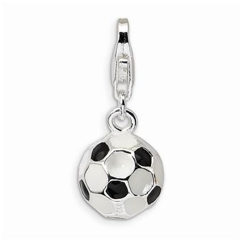 Sterling Silver 3-D Enameled Small Soccer Ball w/Lobster Claw Clasp Charm