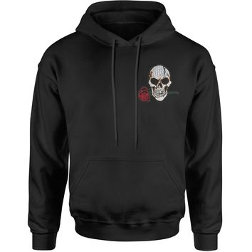 Embroidered Skull with Rose Patch (Pocket Print) Adult Hoodie Sweatshirt