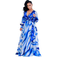Blue Floral Print Long Sleeve Maxi Dress with Belt