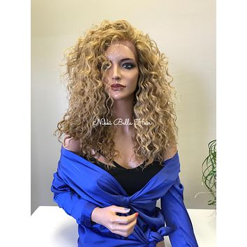"""Light Blonde Balayage Human Hair Blend Multi Parting 2"""" Deep Handmade Wide SWISS Lace Front Wig - Fergie 91731 ON SALE"""
