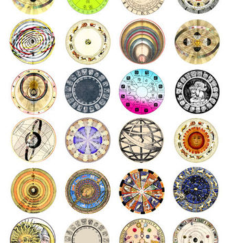 birth sign zodiac astrological charts celestial graphics collage sheet 1.5 inch circles