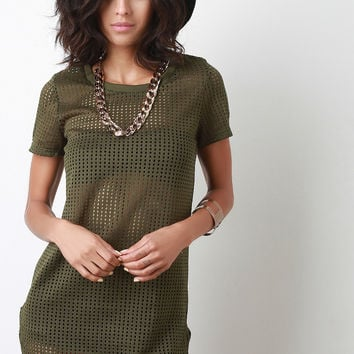 Chain Necklace Mesh Shirt Dress
